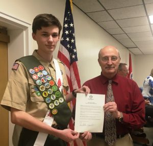 Eagle Scout Jonathan Birmingham recognized by County Mayor Tim Stribling and County Commission