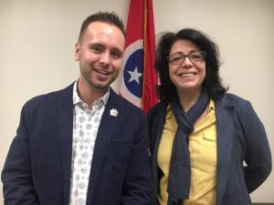 Jordan Wilkins, Chair of the County Chairs for the 6th Congressional District with Tennessee Democratic Party Chair Mary Mancini