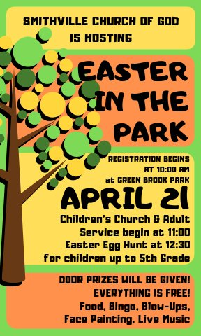 The Smithville Church of God is sponsoring an Easter in the Park service on Sunday, April 21 starting with registration at 10 a.m. followed by the worship at 11 a.m. and then there will be an Easter egg hunt at 12:30 p.m. for children up to 5th grade.