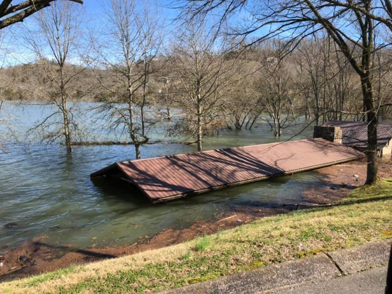 High water at Center Hill Lake submerges a pavilion and bathroom at Floating Mill Park in Silver Point, Tenn., Feb. 25, 2019. The U.S. Army Corps of Engineers Nashville District is assessing damage to recreation facilities at its 10 lakes in the Cumberland