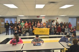 """For """"Kick Butts Day"""" Wednesday March 20, these 8th grade DWS students signed a banner pledging to steer clear of smoking and smokeless tobacco"""