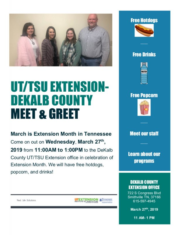 UT-TSU Extension DeKalb County Meet & Greet on Wednesday,, March 27 from 11 a.m. until 1 p.m.