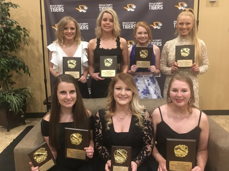 DCHS Basketball Cheerleader Award Winners at Team Banquet Friday Night: Seated left to right-Holly Evans, Zoe Maynard (MVC), and Grace King. Standing left to right-Monica Carlton, Presley Agee, MaKayla Cook, and Callie Mulloy