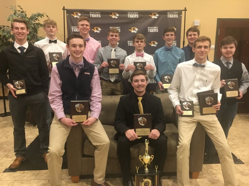 DCHS Tiger Basketball Award Winners at Team Banquet Friday Night: Seated left to right- Noah Martin, Tanner Poss (MVP), and Nathan Atkins. Standing left to right- Brayden Howard, Hayden Thomas, Dallas Cook, Colter Norris, Dakota White, Brayden Antoniak, Isaac Walker, and Aiden Whitman.