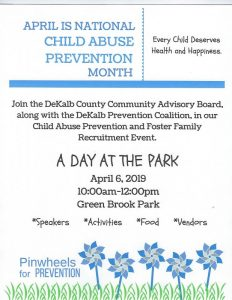 """The DeKalb Prevention Coalition (DPC) and DeKalb Community Advisory Board (CAB) are hosting """"A Day at the Park"""" on April 6th from 10:00 a.m. until 12:00 p.m. at Green Brook Park in Smithville"""