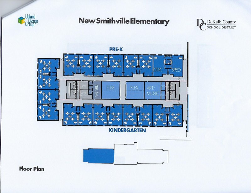 Floor plan for Pre-K and Kindergarten wing of New Smithville Elementary School