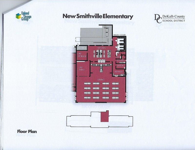 Floor plan for kitchen and dining area of new elementary school