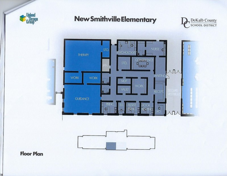 Floor plan for administration area of new elementary school