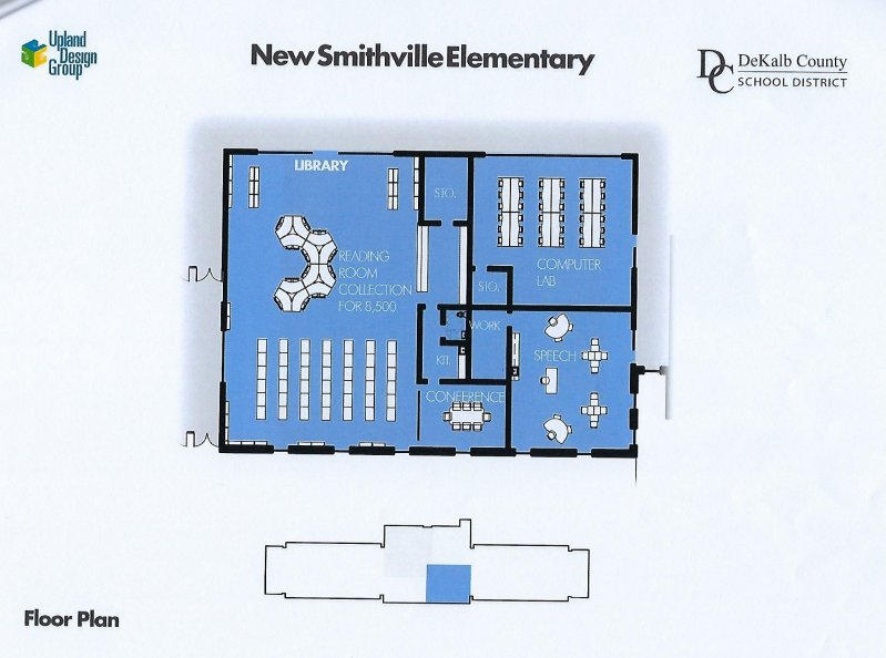 Floor plan for library/computer lab area of new elementary school