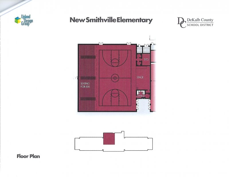 Floor plan for gym and stage area of new elementary school