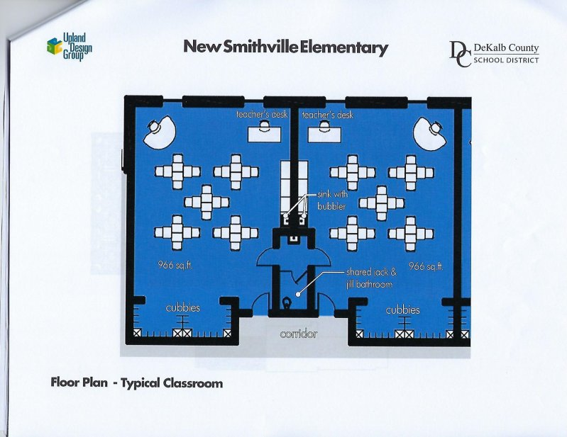 Floor Plan-Typical Classroom for new Smithville Elementary School as designed by Upland Architects