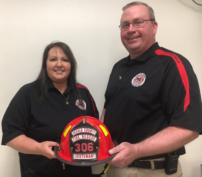 The DeKalb County Volunteer Fire Department has its first ever female officer. During Monday night's regular monthly county commission meeting, County Fire Chief Donny Green announced that Kristie Johnson has been promoted to the rank of Lieutenant. She has been with the department since 2011