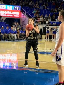 Mya Ruch at free throw line for Lady Tigers in 3rd period. DC loses to Marshall County 34-31 and drops out of state tournament (Tom Duggin photo)
