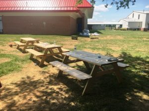 Outdoor collaborative work area under development at DCHS for students in a variety of classes complete with picnic tables