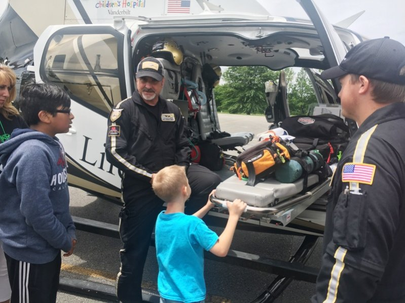 Students attending summer school at Northside Elementary School Tuesday were treated to a visit from a Vanderbilt Life Flight helicopter ambulance crew