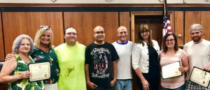(Recovery Court Celebrates Sobriety Efforts of Participants: Pictured: left to right- Marina Cornett, Rhonda Harpole (case manager), Anthony Walters, Carlos Santos, Grady Murphy, Kate Arnold (coordinator), Jamie Ramos, Justin Murphy)