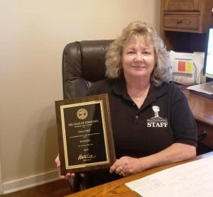 Tina Ford was recently presented her award for 40 years of service with the State of Tennessee and all of those years served working at Edgar Evins State Park.