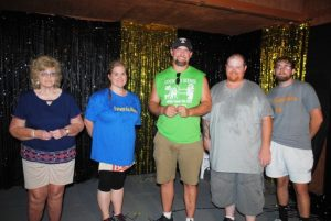$500 cash winners at the Fair Saturday Night: Johnnie Patrick and Doris Smelcer of Alexandria, Jeff Carter and Jarred Dawson of Smithville, and Lee McKinney of Gordonsville