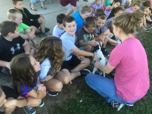 DeKalb Animal Shelter Volunteer Laura Parsley shows off puppy to DeKalb West School 2nd graders