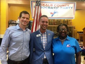 DeKalb Democratic Party Chairman Jordan Wilkins welcomes TN House Democratic Leader Karen Camper (D-Memphis), and U.S. Senate candidate James Mackler to a party potluck dinner at the DCHS cafeteria Monday night.