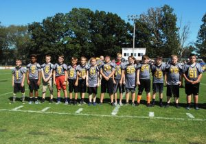 Junior Pro Football Senior Tigers recognized during Homecoming Saturday Part 1: left to right –Kolby Slager, Ryan Lyons, Cole Bain, Walter Bryant, Zachary Cook, Brandon Cook, Thomas Foutch, Porter Hancock, Hunter Buchanan, Matthew Lasser, J.T. Summers, Jacob Stewart, Kollin Young, Chase Young