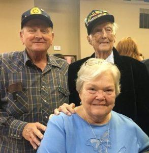American Legion Post #122 Adjutant Ronnie Redmon; Judy Redmon, President of the Ladies' Auxiliary; and World War II Veteran Edward Frazier