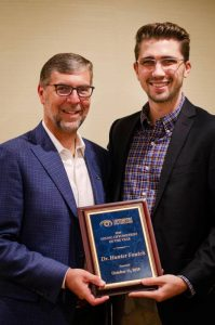 Dr. Mark Kapperman of Chattanooga (left) presented Dr. Hunter Foutch (right) the Young Optometrist of the Year Award during the Tennessee Association of Optometric Physicians' 118th Annual Congress held in Gatlinburg on October 11. Dr. Foutch currently practices in Smithville, TN with his father, Dr. David Foutch at Foutch Eyecare