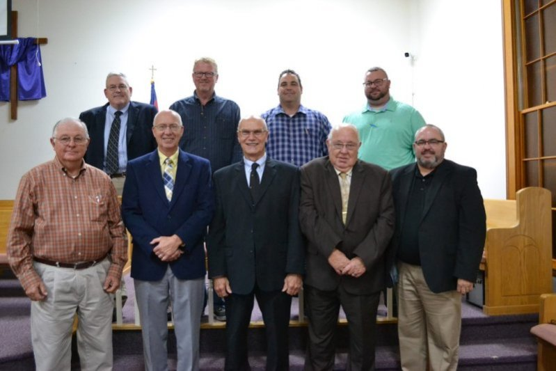 2020 Salem Baptist Association Leadership: The following officers were elected to serve the Salem Baptist Association, Liberty at their 197th Annual Session held at Sycamore Baptist Church on October 29. Shown here, front row from left, are Ken Griffith-Treasurer; Paul Freeze-Associational Mission Strategist, Larry Thomas-Outgoing Moderator; Tommy Davis-Trustee; Jason Lohorn-Trustee. Back row, from right are, David Faulkner-Clerk; Mike Carpenter-Asst. Clerk, Dusty Desimone-Moderator; and Bobby Lee Hale-Vice Moderator.