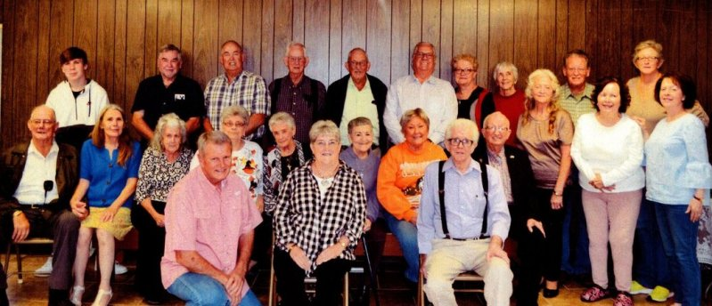 The 13th Annual Blue Springs School Reunion was held October 26th and attendees included: front row from left, are Reed Miller, Peggy Couch, James Certain. Second row, from left, are Gene Foster, Vicky Foster, Evelyn Young, Pat Goff, Faye (Certain) Arnold, Patsy (Watson) Helton, Peggy Foster, James E. Sandlin, second row standing; Fay Bratcher, Peggy (Phillips) Hendrixson, Patsy (Phillips) Judkins. Back row, from left, are Allen Dolberry, Don Hutchings, Joe Foster, Ray Donald Young, Norval Young, Freddy Cripps,