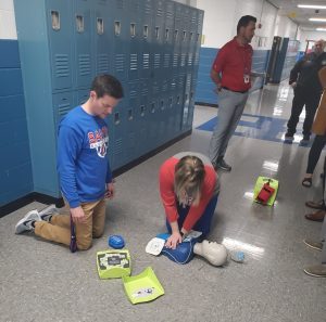 DeKalb Middle School staff implementing an AED drill