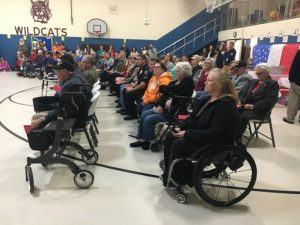 Local Veterans listen as Smithville Elementary Students Sing for them during Friday's Veterans Appreciation Assembly Program