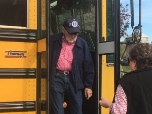 Joe Stone who served in the US Air Force during the Vietnam era was among those veteran honorees who took a bus ride courtesy of the DeKalb County School Transportation Department from the First Baptist Church Life Enrichment Center to the Public Square for the laying of a wreath following Monday's Veterans Day observance