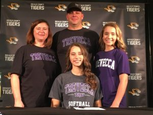 Outstanding DCHS senior softball outfielder Megan Walker signed a letter of intent with Trevecca Nazarene University Friday to play collegiate ball after she graduates here. She was joined at the signing by her parents, Jason and Renee Walker and sister Morgan