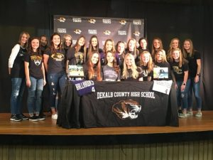 Outstanding DCHS senior softball outfielder Megan Walker signed a letter of intent with Trevecca Nazarene University Friday to play collegiate ball after she graduates here. She was joined at the signing by her Tigerette teammates