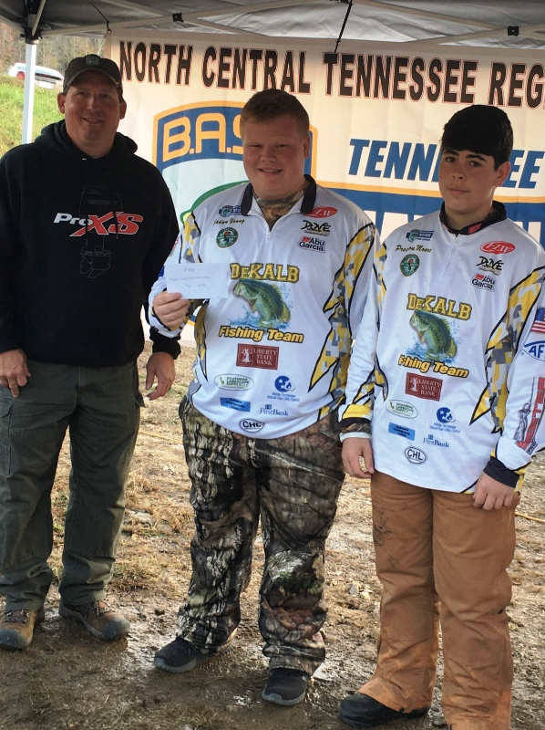 DeKalb Fishing Team Competes in Tournament. Pictured Sammy Talent, North Central Director, Jadyn Young, and Preston Moore.