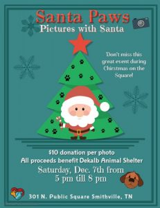 Pet photos with Santa are Saturday, December 7th from 5pm to 8pm at the Hendrix Law office during Christmas on the Square