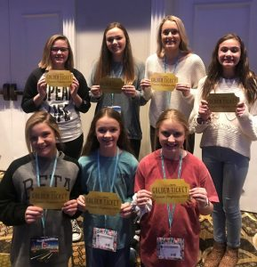 Seven DMS girls were given a Golden Ticket for their performance at the Junior Beta Club State Convention. They will attend practices in Fort Worth to learn dances with kids from all over the country and be a part of the opening act for the National Convention. Those girls are Annabella Dakas, Madeline Martin, Deanna Agee, Caroline Tobitt, Abby Cross, Ally Fuller , and Addyson Swisher.