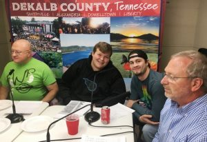 WJLE's Fearless Forecasters talking college football Thursday: Pictured left to right-Jeff James of DeKalb County Insurance, Noah Gill of Gill Automotive, Special guest Steven Jennings, former DCHS athlete and pro baseball player of the Greensboro Grasshoppers, a Single-A affiliate of the Pittsburgh Pirates, and Dewain Hendrixson of DeKalb Ace Hardware