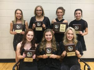 The 2019 DCHS Tiger Football Cheerleader Award Winners: SEATED left to right- Alley Sykes (BEST STUNTS), Katherime Malone (MVC), Kiersten Griffith(BEST CHEER), STANDING left to right- Malia Stanley (BEST DANCER), Sara Carver (BEST JUMPS), Morgan Walker (D.E.A.R. Award), and Sadie West (MOST SPIRITED). They were honored at Saturday night's annual team awards banquet