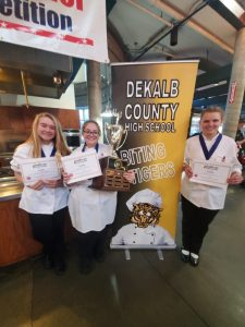 DCHS Biting Tigers Win 1st Place in State Junior Chef Competition. Pictured Left to Right: Sophia Angeletti, Elisabeth Saylors, and Jacklyn Kleparek.