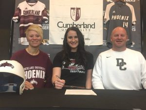 Outstanding DCHS Tigerette Softball Senior Kenzie France signed Wednesday to play collegiate softball for Cumberland University in Lebanon next year. She will graduate from DCHS in May. Kenzie is pictured here with Cumberland University Head Softball Coach Heather Stanfill and DCHS Tigerette Coach Danny Fish