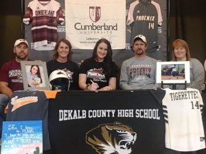 Outstanding DCHS Tigerette Softball Senior Kenzie France signed in January to play collegiate softball for Cumberland University in Lebanon Kenzie is pictured here with her family. Left to right: Will and Kim Frazier (mom), Kenzie, and Tim (father) and Karen France