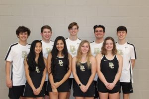 DCHS Tennis Team Seniors: Front row: Chloe Braswell, Kayley Padilla, Meghan Brandt, Hannah McBride. Back row: Eli Cantrell, Justin Washer, Peyton Harris, Gabe Angeles, Ben Snipes