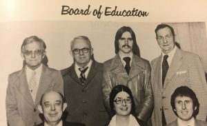 Fifth district school board member W.J. (Dub) Evins, III has announced that he will not seek re-election to the Board of Education in August. He has served for almost 34 ½ years. Evins was first elected to the Board in 1978. Evins is shown in this 1979 photo with the School Superintendent and fellow members of the Board at that time. Seated: Superintendent of Schools E.G. (Elzie) McBride, Sue Puckett from 3rd district, and Dr. Larry Puckett from 4th district. Standing: Martin S. (Easy) Scott from 1st district, Clarence Phillips, Jr. from 7th district, W.J. (Dub) Evins, III from 5th district, and Austin Barnes from the 6th district. Not pictured: James (Doober) Miller from the 2nd district.