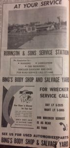 Newspaper advertisement from the 1950's or 60's