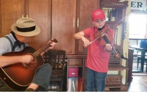 """The 2020 Virtual Jamboree Beginner Fiddling Title goes to Noah Goebel of Elkton, Kentucky and he gets the James G. """"Bobo"""" Driver National Award for Country Musician Beginners"""