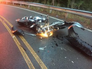 A 56 year old Huntingdon man was seriously hurt Tuesday evening when his motorcycle crashed into a van on Bright Hill Road.