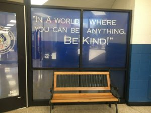 "DeKalb Middle School Receives Major Facelift Over Summer Break to make the building more convenient and secure. The new vestibule has created a safer environment for the entire building. With additional doors and the inspirational quote ""In a world where you can be anything, BE Kind,"" the flow of the building reflects what DMS wants their students to personify."