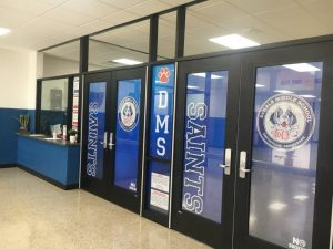 DeKalb Middle School Receives Major Facelift Over Summer Break to make the building more convenient and secure. The school boasts an entirely new entrance and vestibule with the school colors , mascot, and more vividly grabbing your attention as you enter