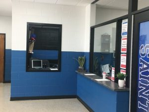 DeKalb Middle School receives major facelift over summer break to make the building more convenient and secure. Visitors now enter through a new vestibule and are greeted by the receptionist in a new office, as well as the School Resource Office shown here